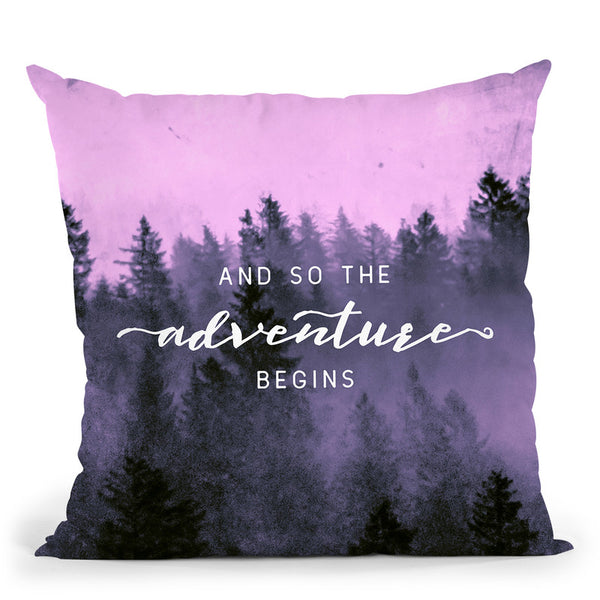 And So The Adventure Begins Morning Forest Pink Throw Pillow By Nature Magick