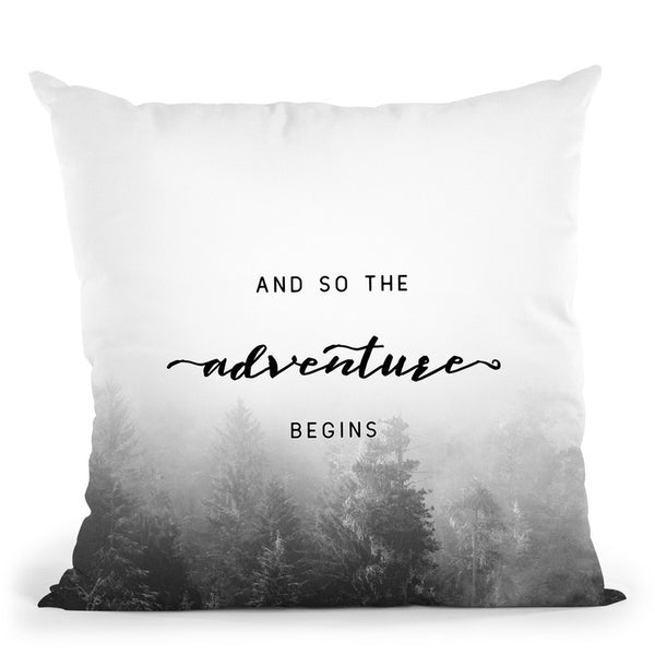And So The Adventure Begins Misty Forest Throw Pillow By Nature Magick