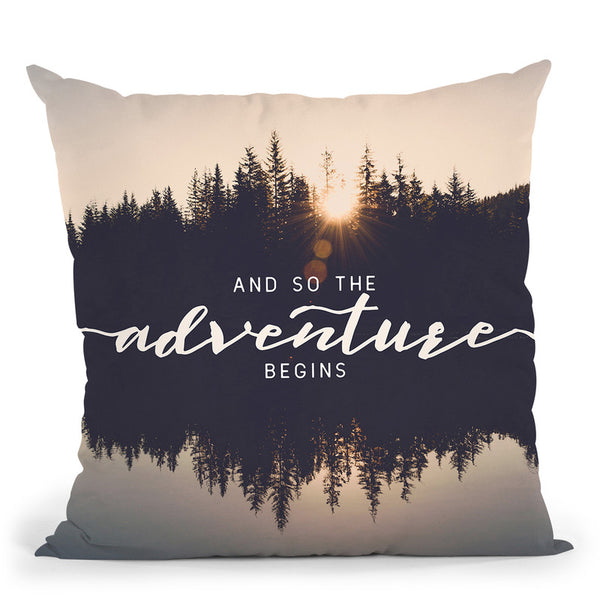 And So The Adventure Begins Forest Reflection Throw Pillow By Nature Magick