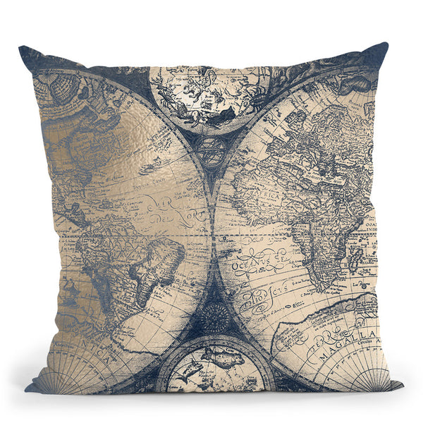 Vintage World Map Black And Teal Iii Throw Pillow By Nature Magick