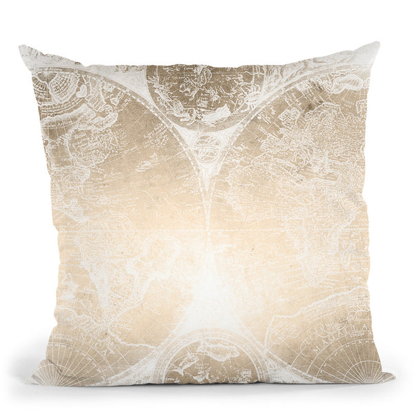 Vintage World Map Gold And White Ii Throw Pillow By Nature Magick