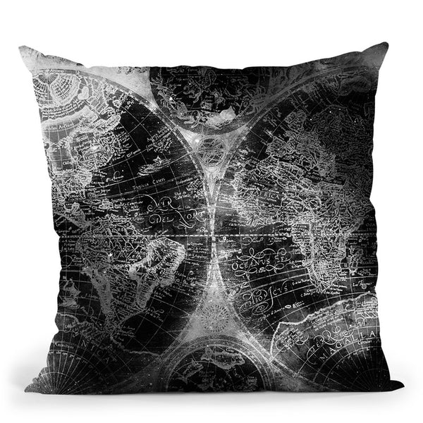 Vintage World Map Black And White Ii Throw Pillow By Nature Magick