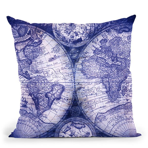 Navy Vintage World Map Throw Pillow By Nature Magick