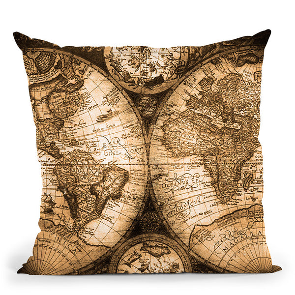 Vintage World Map Throw Pillow By Nature Magick