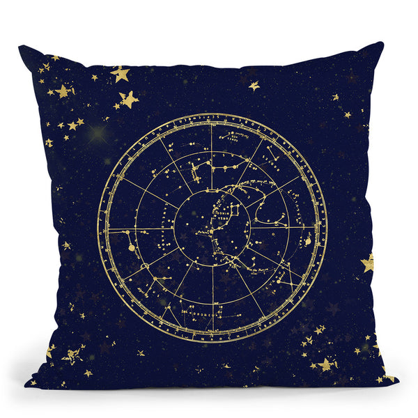 Vintage Star Map Navy And Gold Throw Pillow By Nature Magick