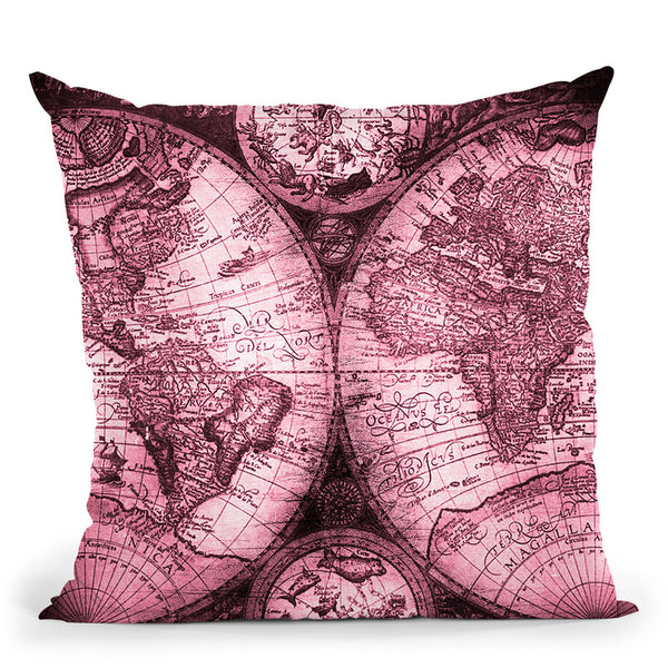 Vintage World Map Pink Throw Pillow By Nature Magick