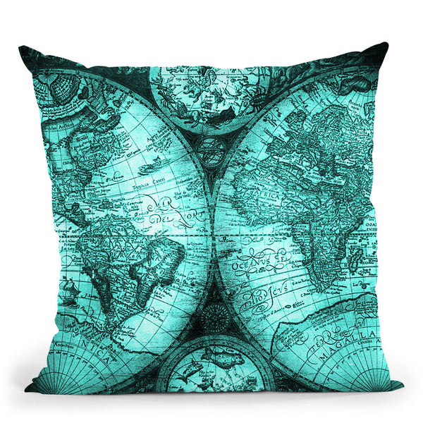 Vintage World Map Teal Green Throw Pillow By Nature Magick