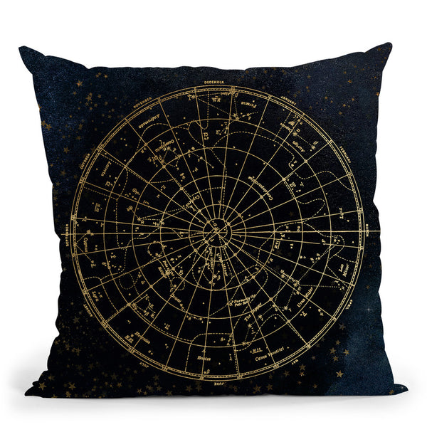 Vintage Star Map Navy And Gold Ii Throw Pillow By Nature Magick