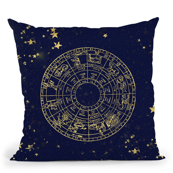Vintage Star Map Navy And Gold Iii Throw Pillow By Nature Magick