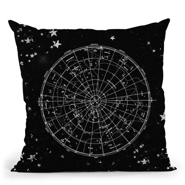 Vintage Star Map Black And Gray Ii Throw Pillow By Nature Magick