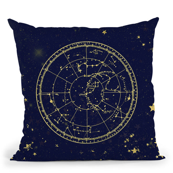 Vintage Star Map Navy And Gold Iv Throw Pillow By Nature Magick