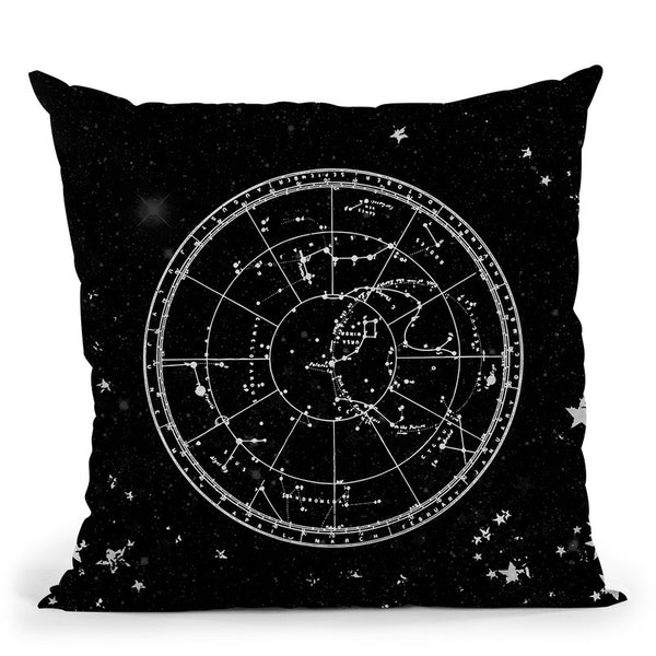 Vintage Star Map Black And Gray Iii Throw Pillow By Nature Magick