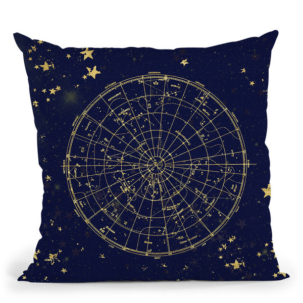 Vintage Star Map Navy And Gold V Throw Pillow By Nature Magick
