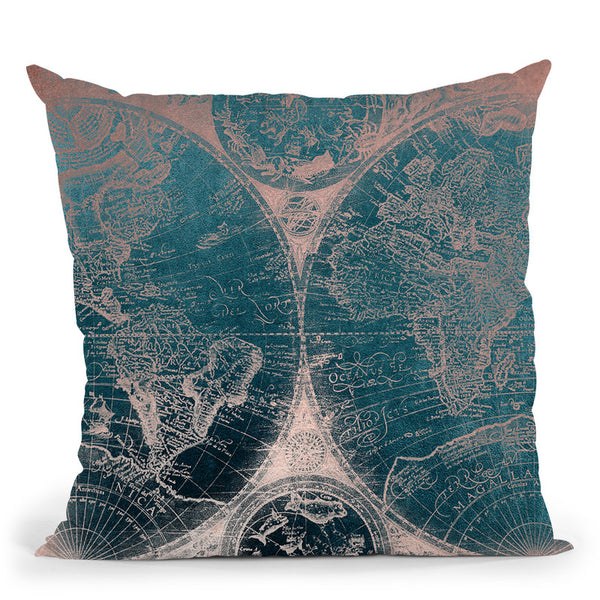 Vintage World Map Teal And Rose Gold Iii Throw Pillow By Nature Magick