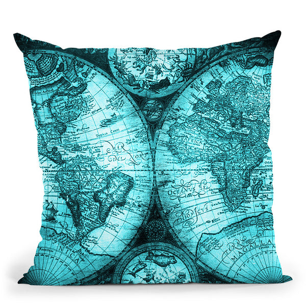 Vintage World Map Black And Teal Iv Throw Pillow By Nature Magick
