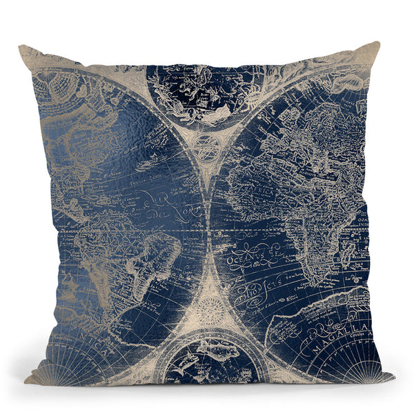 Vintage World Map Navy And White Gold Throw Pillow By Nature Magick