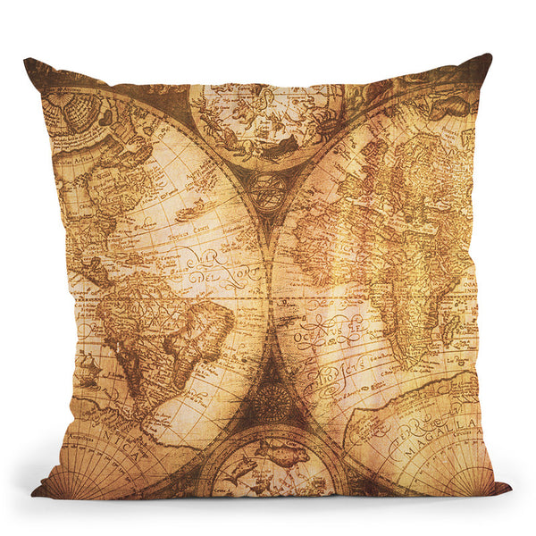 Vintage World Map Ii Throw Pillow By Nature Magick