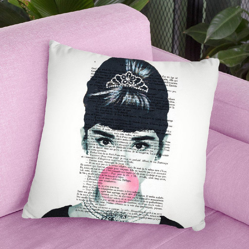 Audrey Hepburn With Bubble Gum Throw Pillow By Not Much To Say
