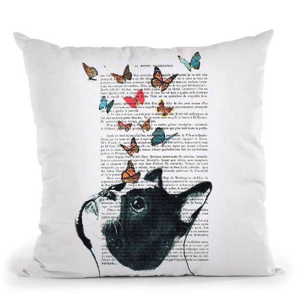 French Bulldog With Butterflies Throw Pillow By Not Much To Say