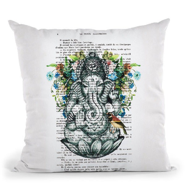 Ganesha With Bird Throw Pillow By Not Much To Say