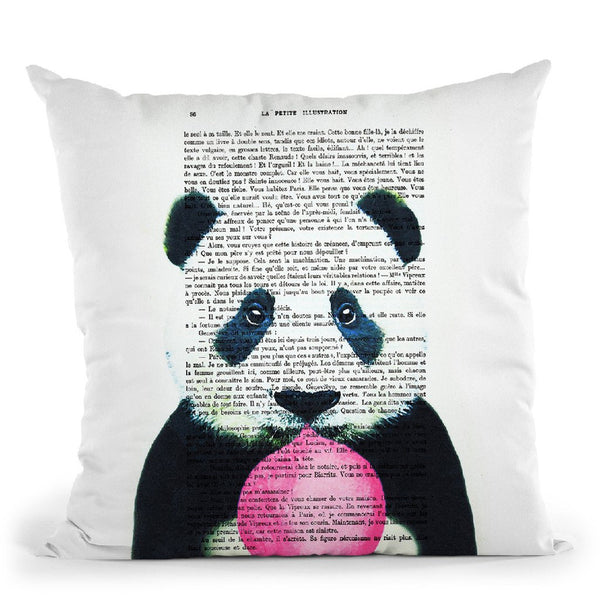 Panda With Bubble Gum Throw Pillow By Not Much To Say