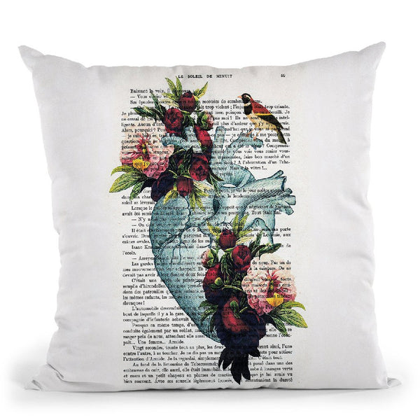 Peony Heart Throw Pillow By Not Much To Say