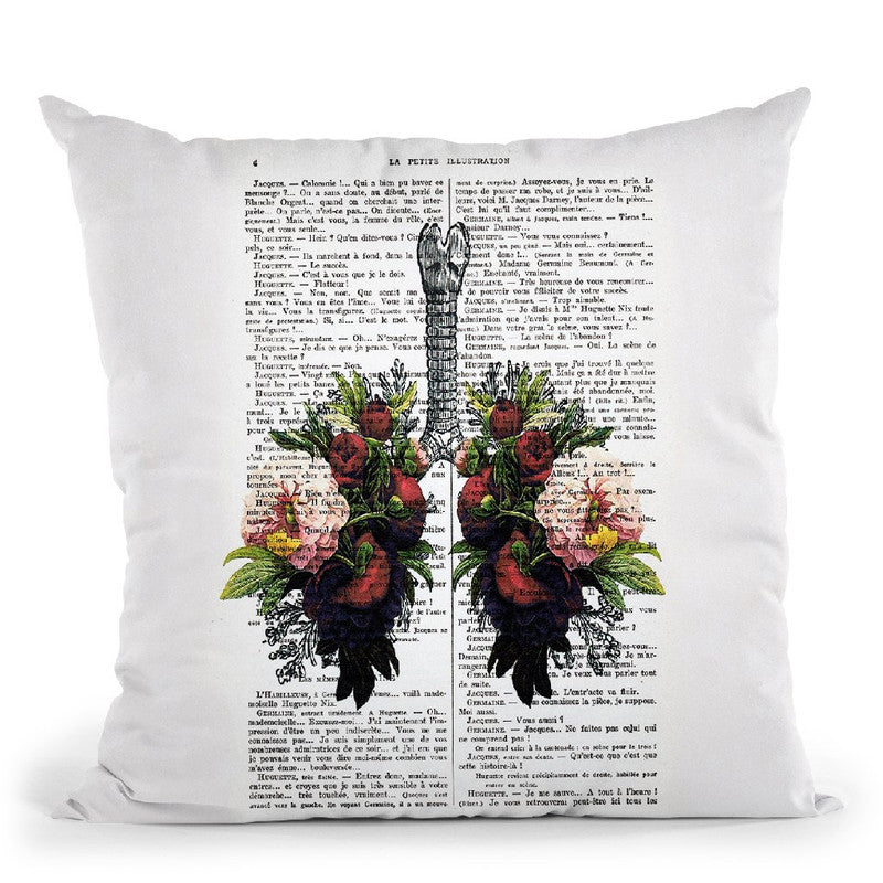 Peony Lungs Throw Pillow By Not Much To Say