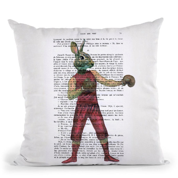Rabbit Boxer Throw Pillow By Not Much To Say
