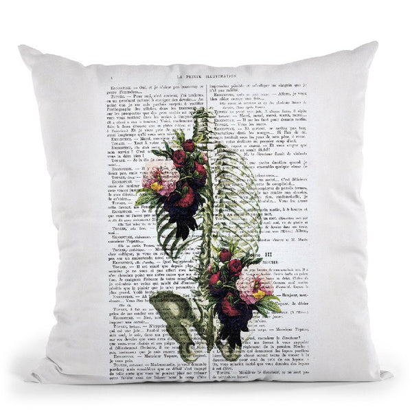 Ribcage With Flowers I Throw Pillow By Not Much To Say