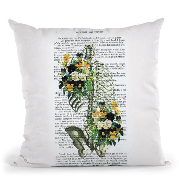 Ribcage With Flowers Ii Throw Pillow By Not Much To Say