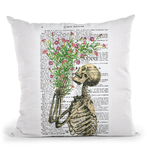 Skeleton With Flowers Throw Pillow By Not Much To Say
