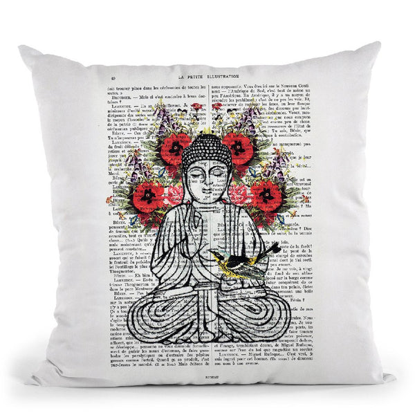 Buddha With Bird Throw Pillow By Not Much To Say