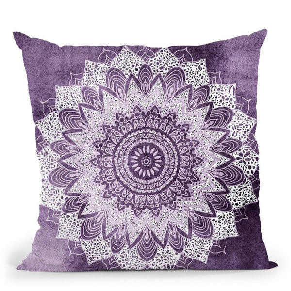 Bohochic Mandala In Ultraviolet Throw Pillow By Nika Martines