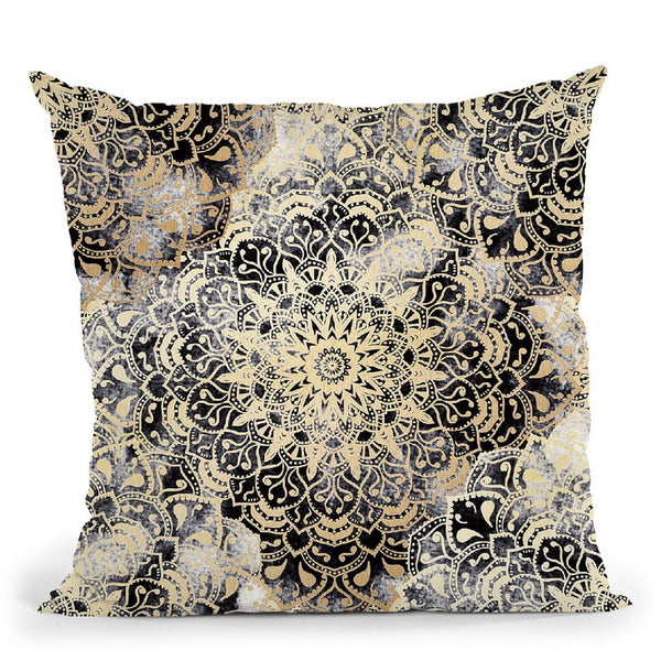 Mandala Wonderland In Gold Throw Pillow By Nika Martines