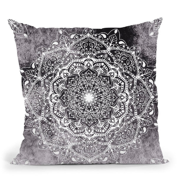 Nature Mandala Blue-Pink Throw Pillow By Nika Martines