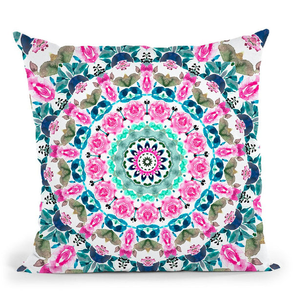 Watercolor Floral Mandala Throw Pillow By Nika Martines