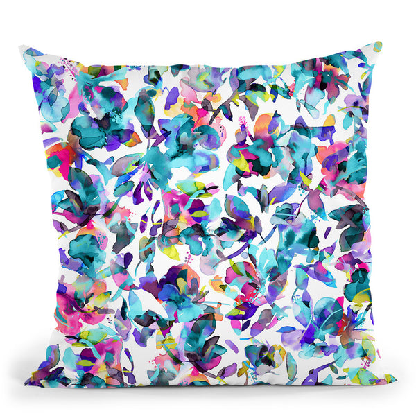 Aquatic Abstract Flowers Blue Throw Pillow By Ninola Design