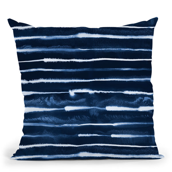 Electric Ink Stripes Navy Throw Pillow By Ninola Design