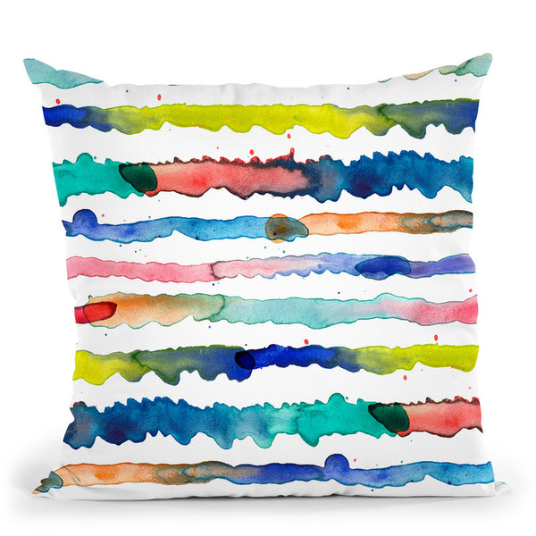 Gradient Watercolor Lines Blue Throw Pillow By Ninola Design