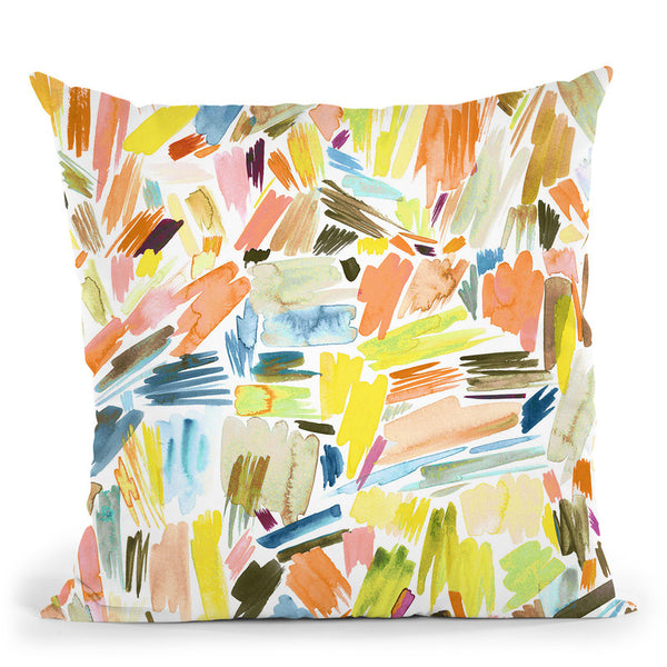 Watercolor Modern Brushstrokes Orange Gaudi Throw Pillow By Ninola Design