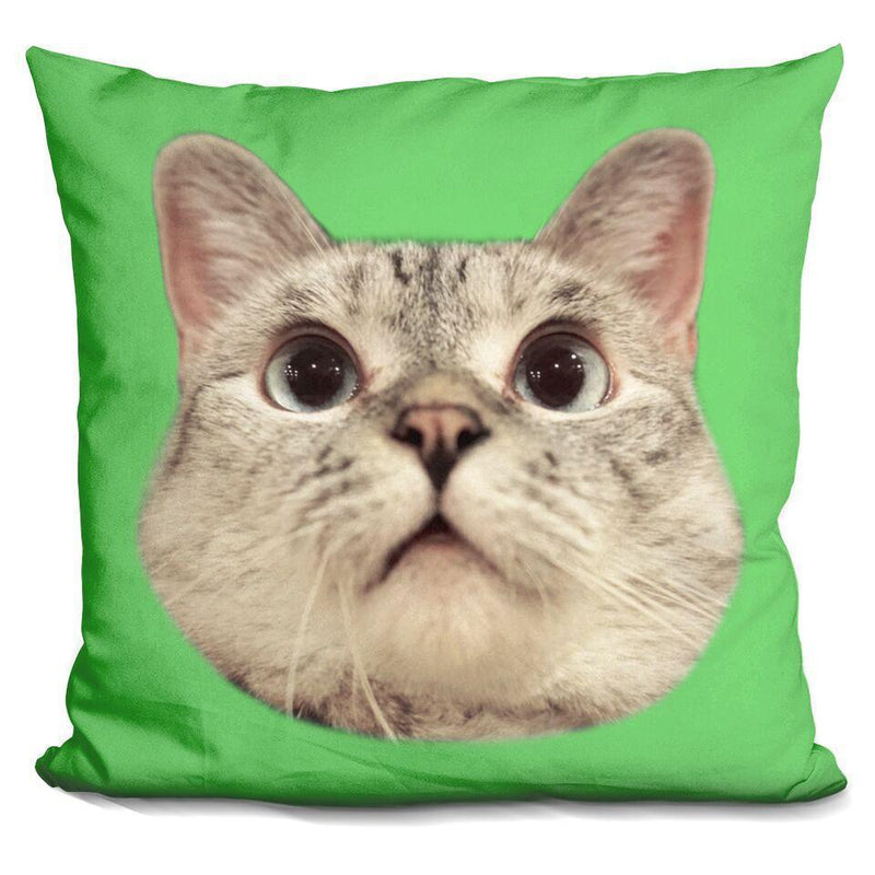Nala Cat Head Green Square Pillow