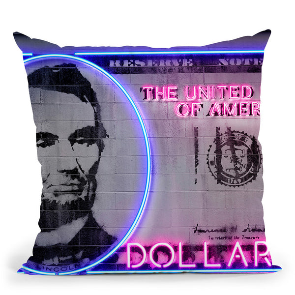 5 Dollars Throw Pillow By Octavian Mielu