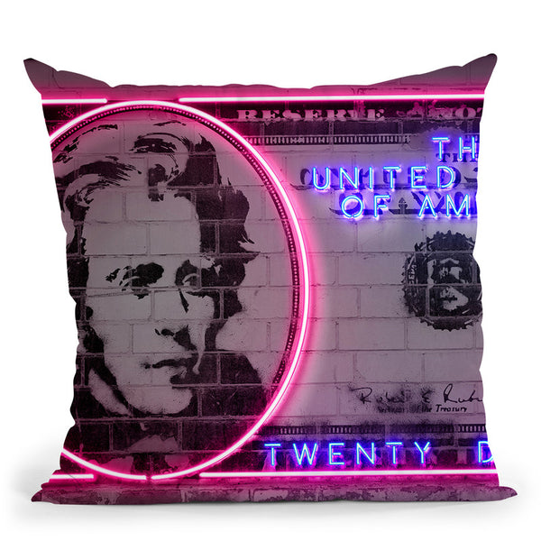 20 Dollars Throw Pillow By Octavian Mielu