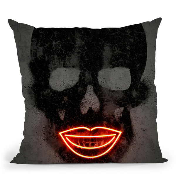Skull Octavian Mielu (Neons) Throw Pillow By Octavian Mielu