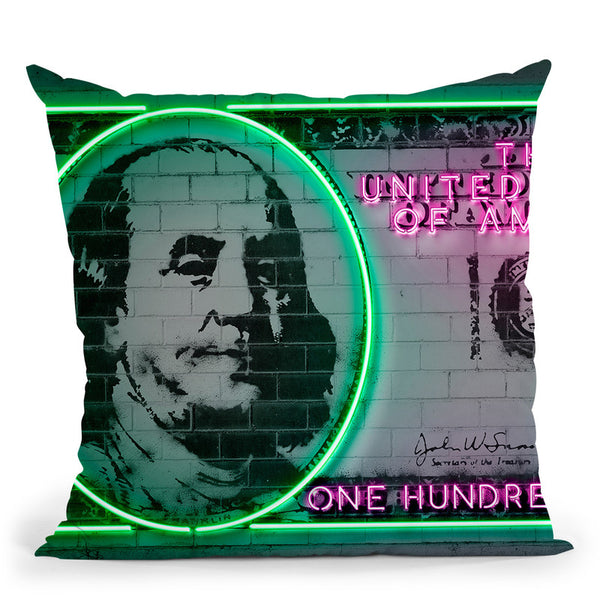100 Dollars Throw Pillow By Octavian Mielu