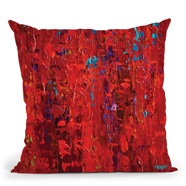 Red Throw Pillow By Osnat Tzadok