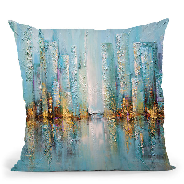 Blue City Throw Pillow By Osnat Tzadok