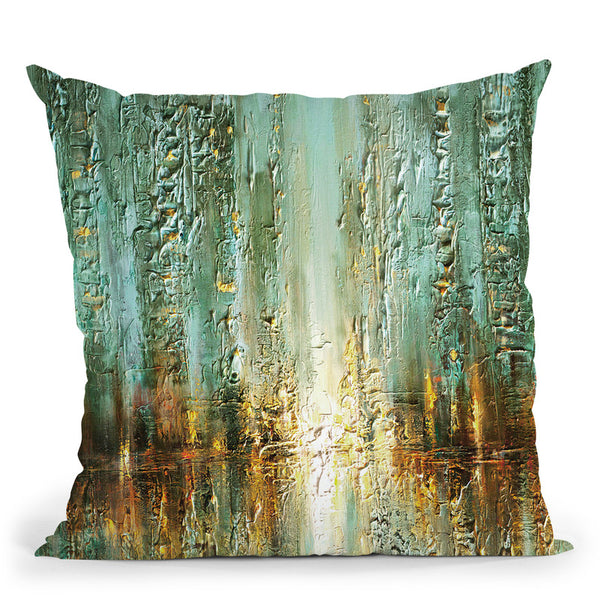 Walking In The Rain Throw Pillow By Osnat Tzadok