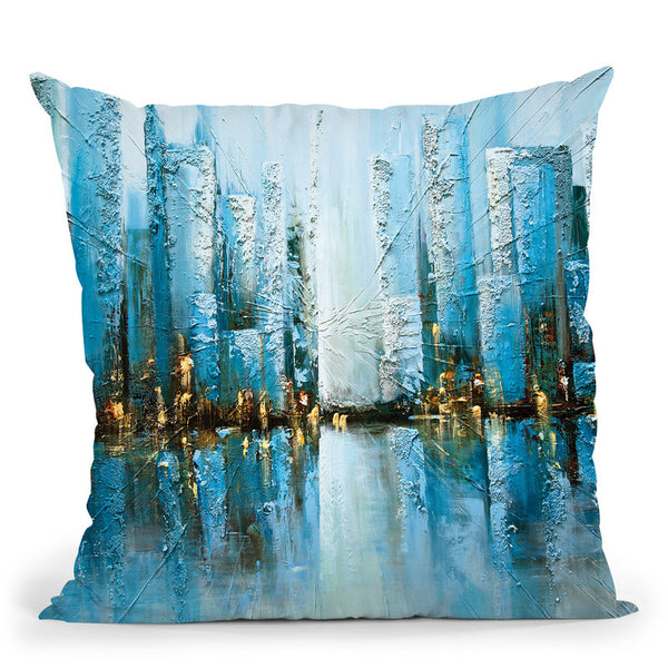 Blue Rise Throw Pillow By Osnat Tzadok