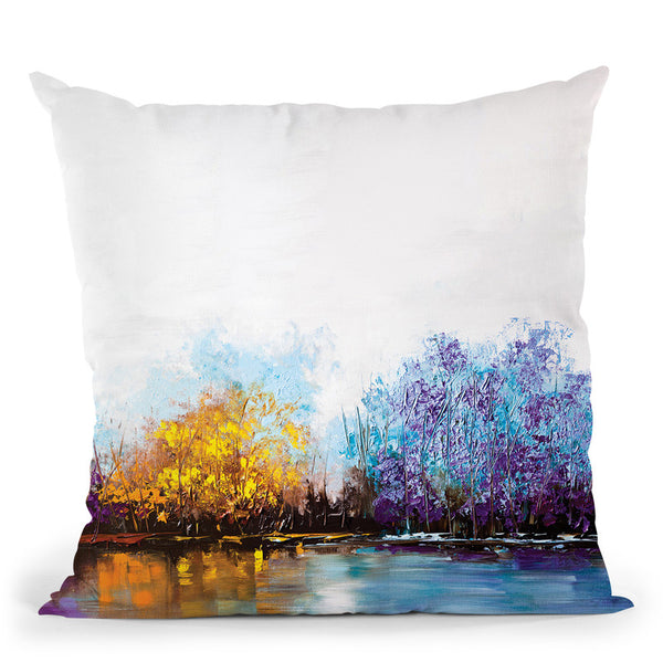 By The Lake Throw Pillow By Osnat Tzadok